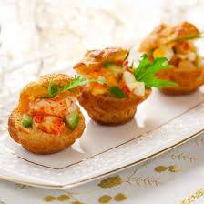 recette petits choux fourrés aux crevettes saumon et avocat