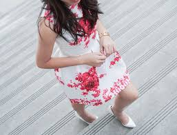 fit and flare white and red floral summer dress just a tina bit