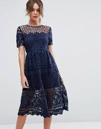 Boohoo Corded Lace Paneled Skater Dress