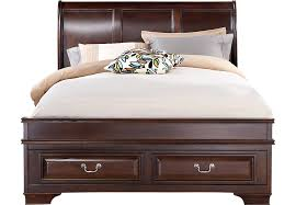 Mill Valley II Cherry 3 Pc King Sleigh Bed w Storage Beds Dark Wood