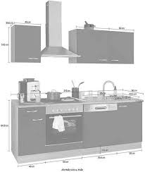 optifit küchenzeile parare 210 bzw 270 cm mit hanseatic