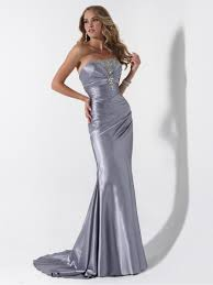 sheath strapless floor length long silver evening prom