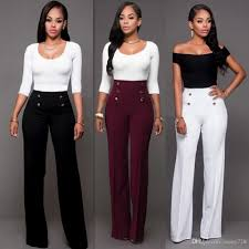 2018 2017 Trendy Fashion Bootcut Long Pants For Women High Waist Button Zipper Office Work Lady Trousers Black Whitee Burgundy In Stock From Sunny728
