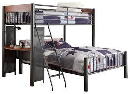 homelegance division twin full loft bed in light graphite bunk
