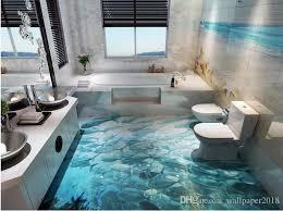 großhandel tapeten 3d wand delphin surf world 3d badezimmer wohnzimmer bodenfliesen tapete für badezimmer wallpaper2018 42 42 auf