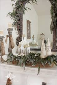 On The Table I Covered An Old Wooden Box With Burlap Added A Bit Of Greenery And Topped It Few My Paper Mache Christmas Trees One