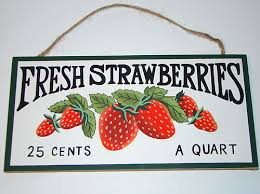 Rustic Country Fruit Plaque Fresh Strawberries Kitchen Decor