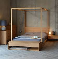 Cube 4 Poster Bed And The Collection Of Black Lotus Bedroom Furniture In Solid Oak