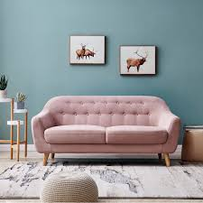 100 Modern Sofa For Living Room European Style Upholstered Loveseat Two Seater Furniture Buttom Tufted Cushion Antique Wood Legs