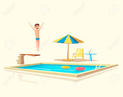 Swimming Pool With A Diving Board Cartoon Vector Illustration Sport And