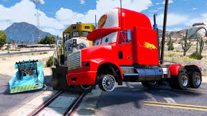 Mack Truck Hauler In Trouble With Train - Disney Cars Mater ...