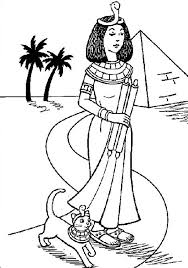 A Typical Ancient Egypt Royal Women And Her Pet Cat Colouring Page Coloring