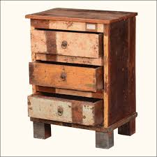 Reclaimed Rustic End Table Finish In Distressed Paint Having Three Chest Of Drawers Plus Round Chain Metal Knobs