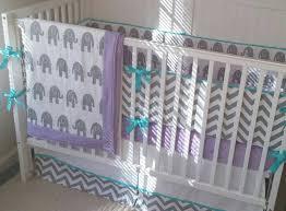 Baby Bedding Crib Sets Gray Aqua and Light Purple Elephant