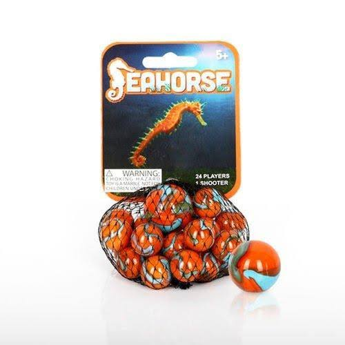Mega Marbles - Seahorse Marbles Net 1 Shooter Marble & 24 Player