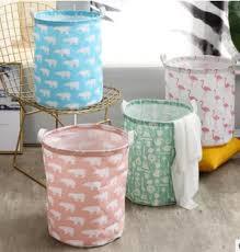 bedruckter stoff runder wasserdichter korb korb baumwoll tuch polyester wäsche korb für badezimmer mit griffen buy faltbare kunststoff wäsche