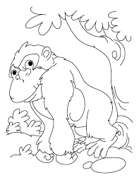 Lazy Gorilla Coloring Pages