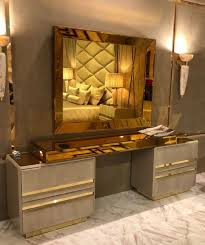 casa padrino luxury bedroom furniture set taupe gold noble dressing table with wall mirror hotel furniture luxury quality made in italy