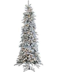 75ft Pre Lit Artificial Christmas Tree Flocked Narrow Pine Clear Lights