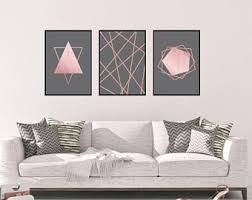 Rose Gold Wall Art Set Living Room Bedroom Decor