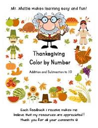 Thanksgiving Color By Number Addition And Subtraction To 10 By Mr Mattie