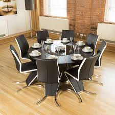 Modern Large Round Black Oak Dining Table + 8 High Back/White Z Chairs