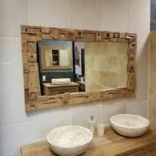spiegel teak altholz block rahmen badezimmer wandspiegel