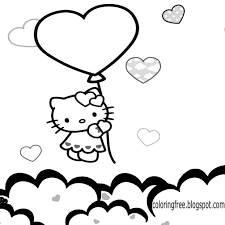 Coloring Pages Printable Pictures To Color Kids Drawing Ideas Big Balloon Love Heart Hello Kitty Attractive