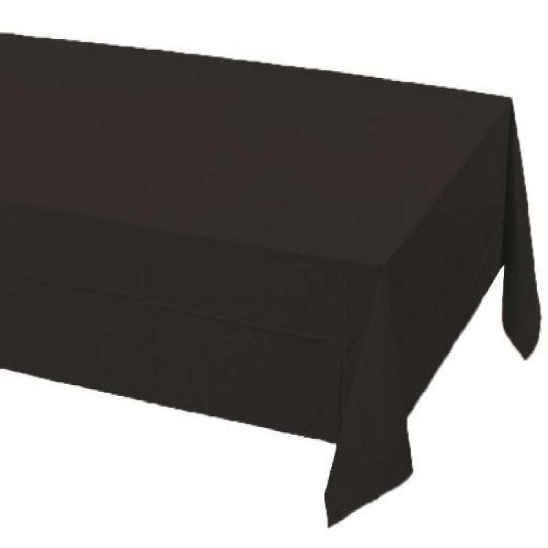 "Touch of Color Plastic Table Cover - Black Velvet, 54"" X 108"""