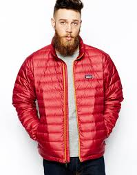 patagonia down sweater jacket in red for men lyst