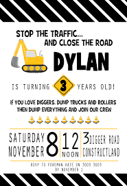 Construction Truck Birthday Themed Party Invitation Wording ... Birthday Cstruction Themed Party With Free Printables  Noted Trucks Pictures Amazon Com 12340 Watsons Cstruction Truck Birthday Party Holy City Chic Truck Dessert Cake Plates Napkins And Cups Home Ideas Invitations Monster Fire Envelopes First Themed Invites Items Similar To Augustines 2nd M Loves Stay At Homeista Boys Name Age Poster Crane