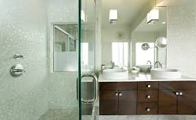 white glass mosaic tile bathroom contemporary with above counter