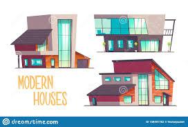 100 Contemporary Glass Houses Modern Architecture Cartoon Vector Set Stock Vector