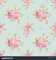 Cute Seamless Shabby Chic Pattern With Roses And Polka Dots Ideal For Kitchen Textile Or Bed Linen Fabric Curtains Interior Wallpaper Design