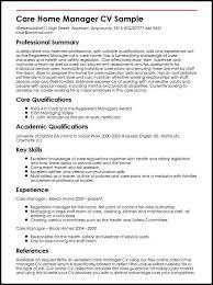 Care Home Manager Cv Sample Myperfectcv Rh Co Uk House Cleaning Description Resume