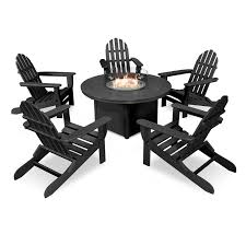 POLYWOOD Classic Folding Adirondack 6 Piece Conversation Set With Fire Pit  Table - Walmart.com Cheap Poly Wood Adirondack Find Deals Cool White Polywood Bar Height Chair Adirondack Outdoor Plastic Chairs Classic Folding Fniture Stunning Polywood For Polywood Slate Grey Patio Palm Coast Traditional Colors Emerson All Weather Ashley South Beach Recycled By Premium Patios By Long Island Duraweather