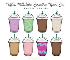 Ice Coffee Clipart Set Iced Smoothie Planner Sticker