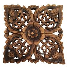 Wood Plaque Oriental Carved Lotus Square Rustic Wall Decor Hand Art