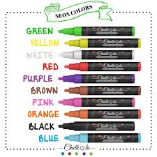 Chalk Pens - Pack Of 10 Neon Colour Markers. Used On Whiteboard ...
