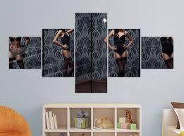 leinwandbild 5 tlg 200x100cm erotik frau korsett strümpfe schwarz schlafzimmer po collage alu bild acryl acrylglasbild leinwand bilder druck