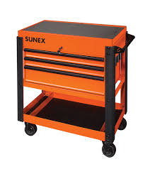 Sunex Tools 3 Drawer Service Cart With Sliding Top, Orange