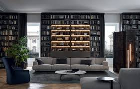 Furniture Apartment Bedroom Living Room With Bookshelves