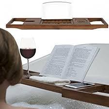 Bamboo Bathtub Caddy With Wine Glass Holder by Luxury Bath Book Holder U0026 Rack Premium Natural Bamboo Bathtub