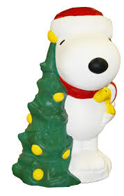 Halloween Blow Mold Figures by Peanuts By Schulz 30in Lighted Christmas Snoopy With Tree Blow