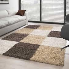 teppich hochflor langflor wohnzimmer günstig shaggy kariert braun weiss beige