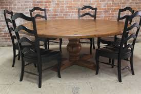 Large Outdoor Round Pedestal Farmhouse Dining Table With 6 Ladder Chairs Painted Black Color And Leather Seats High Back Ideas