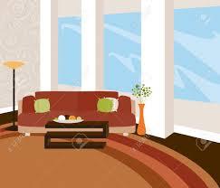 ein stilvolles wohnzimmer mit moderner ausstattung und großzügige fenster in warmen natürlichen tönen