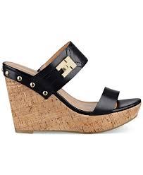 tommy hilfiger women u0027s madasen platform wedge sandals in black lyst