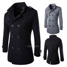wool coat men u0027s double breasted peacoat long men jacket winter