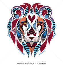 Patterned Colored Head Of The Lion African Indian Totem Tattoo Design